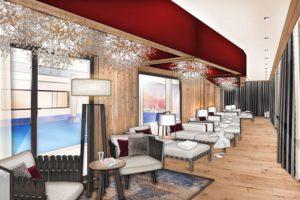 Nouvelle salle de détente agrandie à l'hôtel Alpenhof, travaux 2019